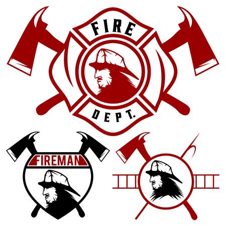 bombero de rojo: Conjunto de emblemas del cuerpo de bomberos e insignias