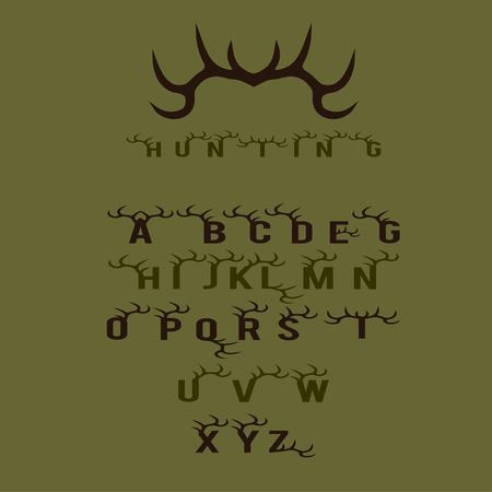 cuernos: caza alfabeto con cuernos