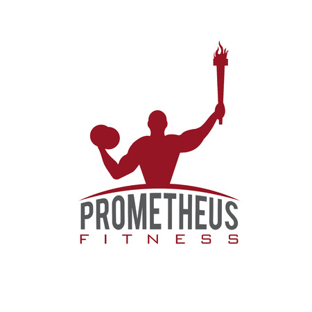 fitness prometheus with man holding a torch Stock Vector - 38363540