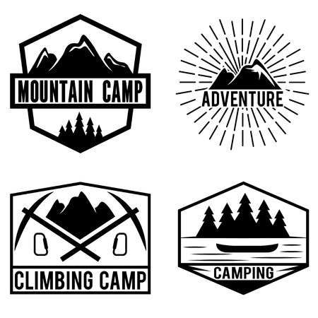 lake sunset: set of vintage labels mountain adventure and camping Illustration