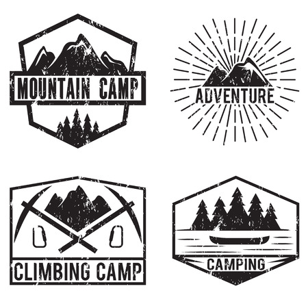 winter tree: set of vintage labels mountain adventure and camping Illustration