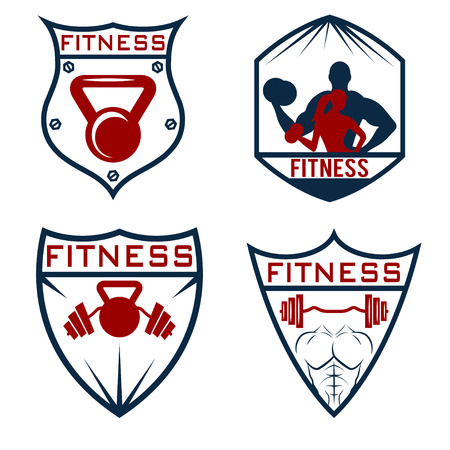 bicep curls: set of fitness labels