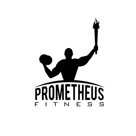 fitness prometheus with man holding a torch Stock Vector - 38363569