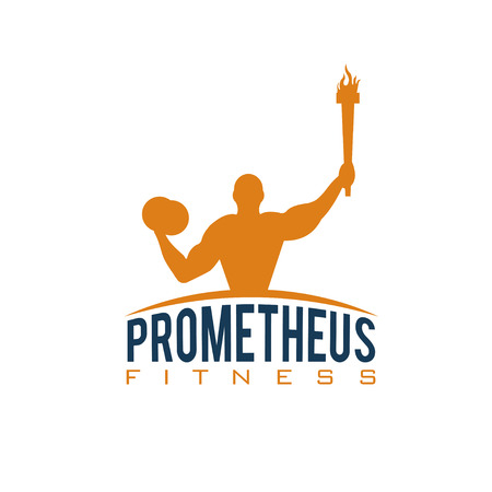 bicep curls: fitness prometheus with man holding a torch