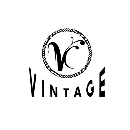 v shape: vintage monogram Illustration