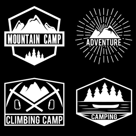 ice axe: set of vintage labels mountain adventure and camping Illustration