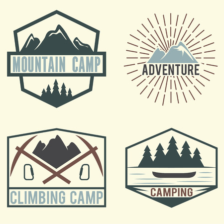 winter range: set of vintage labels mountain adventure and camping Illustration