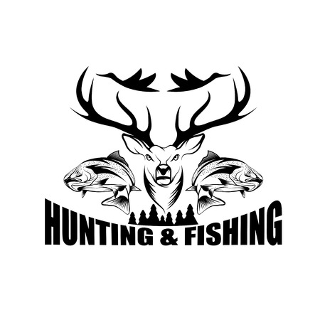 hunting: hunting and fishing vintage emblem vector design template