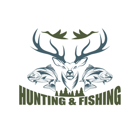 狩猟や釣りのビンテージ エンブレム ベクター デザイン テンプレート