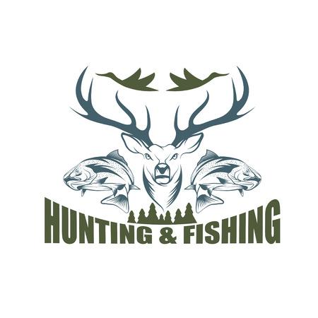Caccia e pesca emblema d'epoca modello disegno vettoriale Archivio Fotografico - 38364544