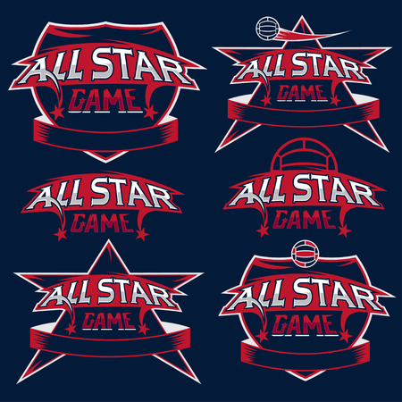 set of vintage sports all star crests with soccer theme Vector