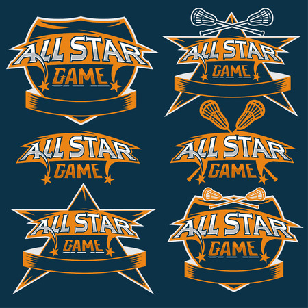 major league: set of vintage sports all star crests with lacrosse theme