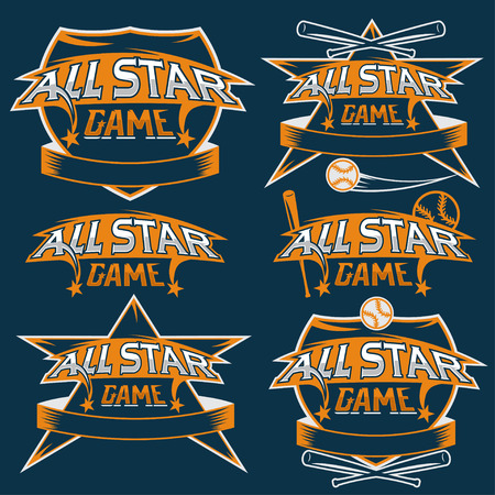 major league: set of vintage sports all star crests with baseball theme
