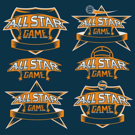 major league: set of vintage sports all star crests with soccer theme Illustration