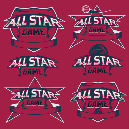 major league: set of vintage sports all star crests with basketball theme Illustration