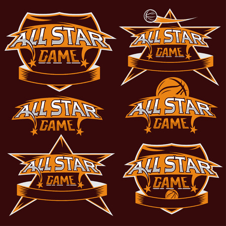 set of vintage sports all star crests with basketball theme Vector