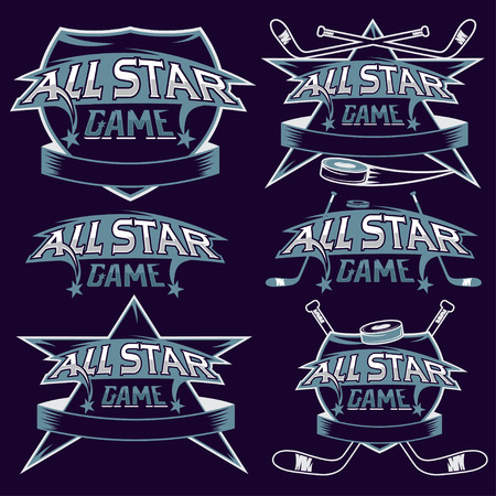 major league: set of vintage sports all star crests with hockey theme