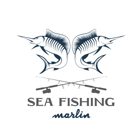 cartoon fishing: vintage illustration sea fishing with marlin
