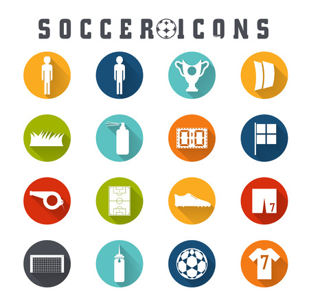 european championship: Vector collection of flat icons on the theme of football