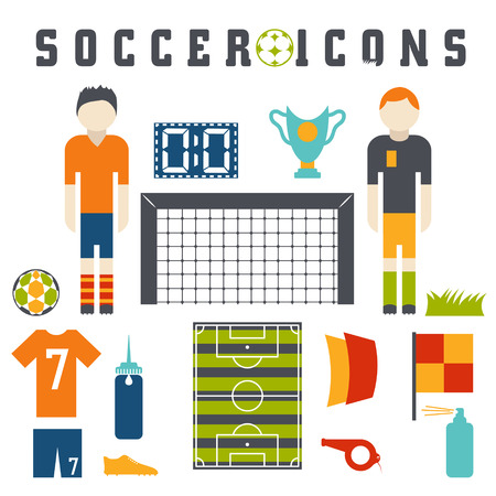 offside: Vector collection of flat icons on the theme of football