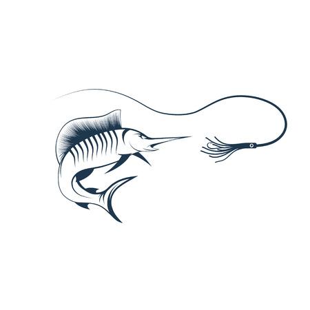 pez vela: pez vela y señuelo