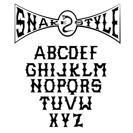 monumental: snake style gothic alphabet