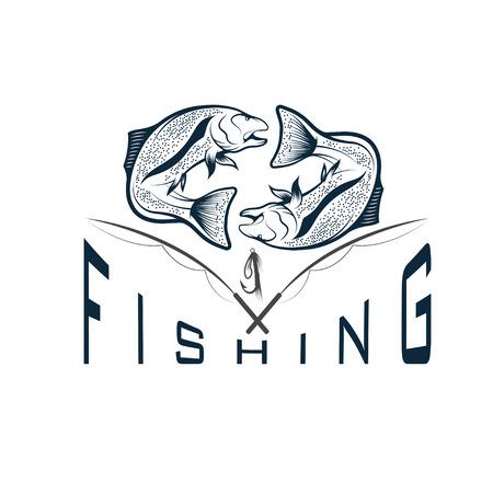 largemouth: vintage fishing vector design template