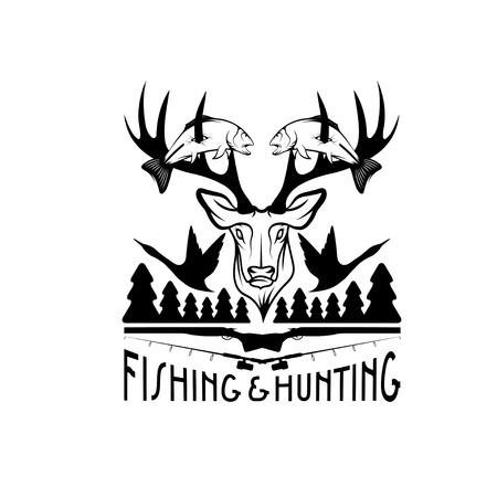 Caza y pesca emblema de la vendimia plantilla vector Foto de archivo - 38960460