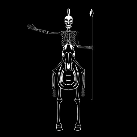 spear: skeleton in spartan helmet with spear on the horse
