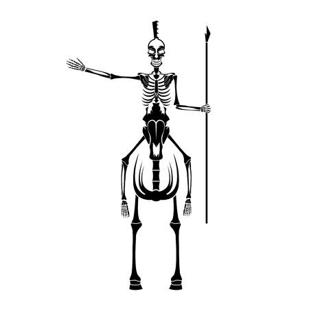 skelett mensch: Skelett in Spartaner Helm mit Speer auf dem Pferd