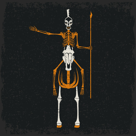 fight hunger: grunge skeleton in spartan helmet with spear on the horse