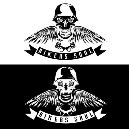 biker theme label with flowers,wings,pistons and skull Vector