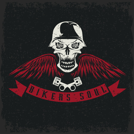grunge biker theme label with flowers,wings,pistons and skull Vector