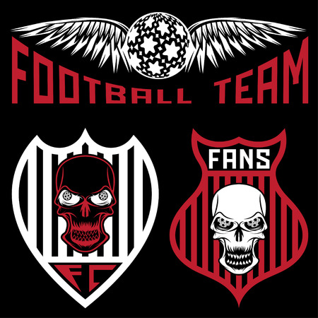 strip club: football team crests set with wings and skulls