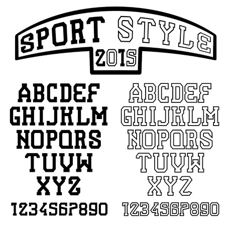 serif: serif font in the retro style of sport Illustration