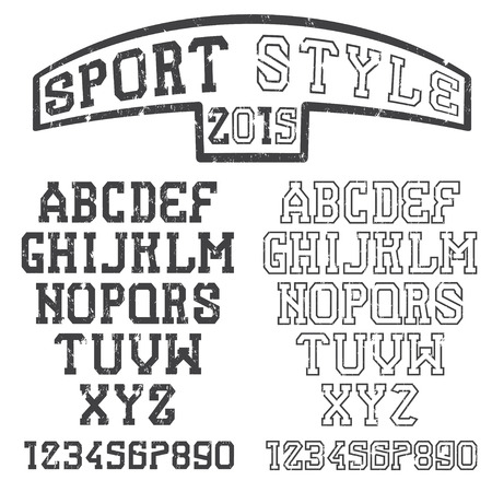 athletic type: grunge serif font in the retro style of sport Illustration