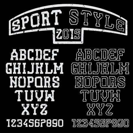 monumental: grunge serif font in the retro style of sport Illustration