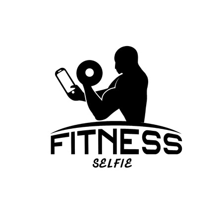 defined: man of fitness silhouette character make selfie design template Illustration