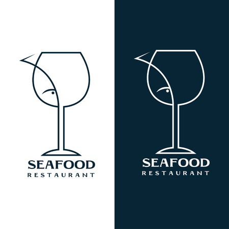 seafood restaurant vector design template with wine glass and fish Stok Fotoğraf - 39228737