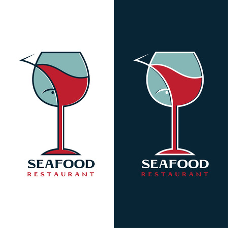 seafood restaurant design template with wine glass and fish