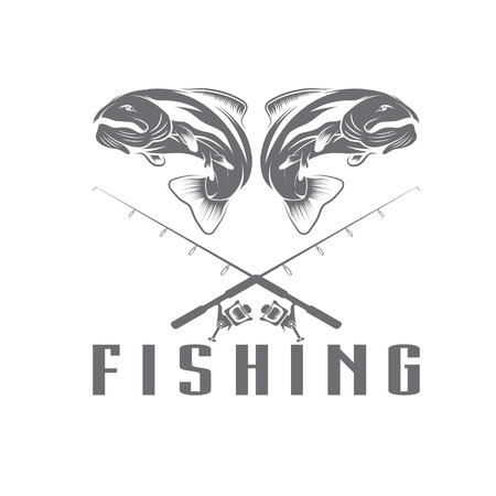 vintage fishing design template Illustration