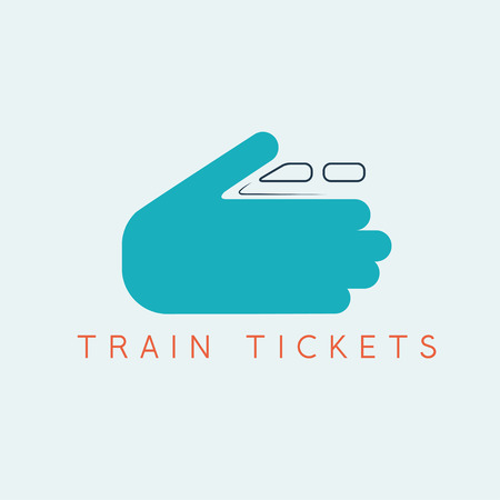 intercity: train tickets design template with hands