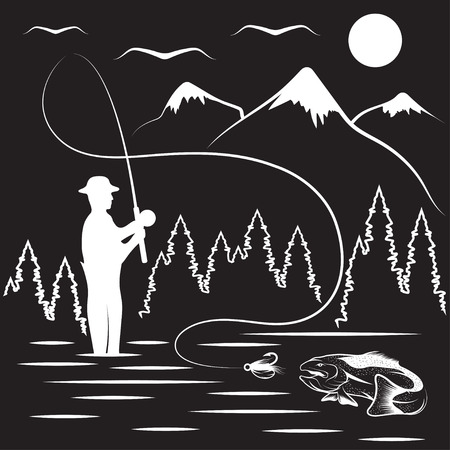 vintage illustration of fishing theme