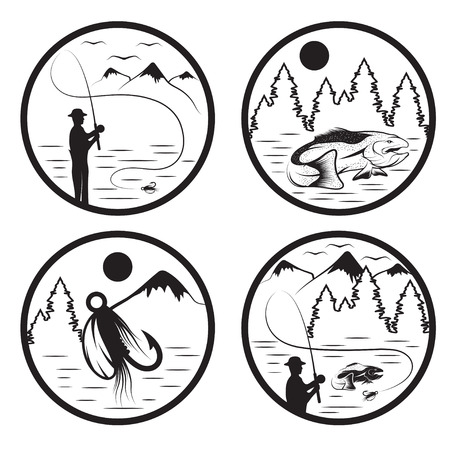 spawning: set of vintage labels with fishing theme Illustration