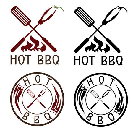 costillas de cerdo: Hot BBQ colecci�n etiquetas parrilla