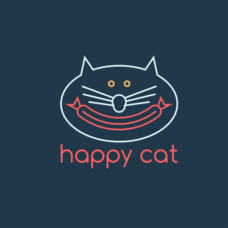 happy cat: happy cat with sausage design template Illustration