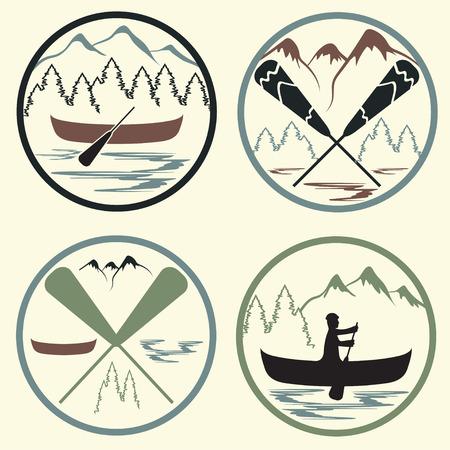 himalaya: canoe camp vintage labels set