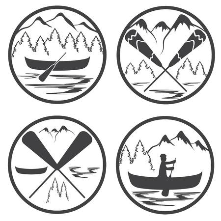 extremal: canoe camp vintage labels set