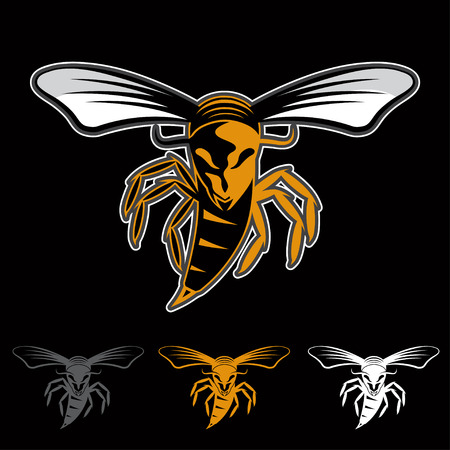 aggressive bee or wasp mascot Vector