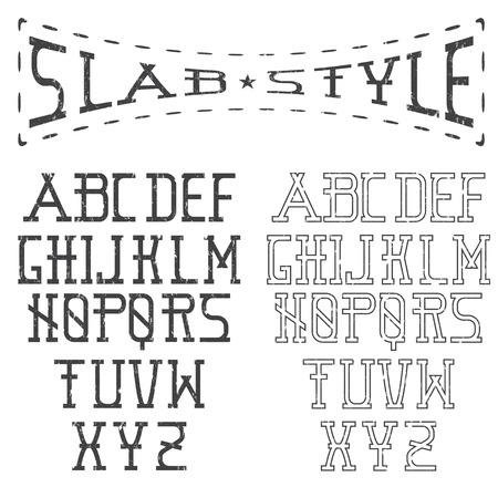 slab: grunge slab style alphabet Illustration